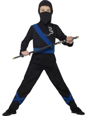 Ninja Assassin Black/Blue Children's Fancy Dress Costume