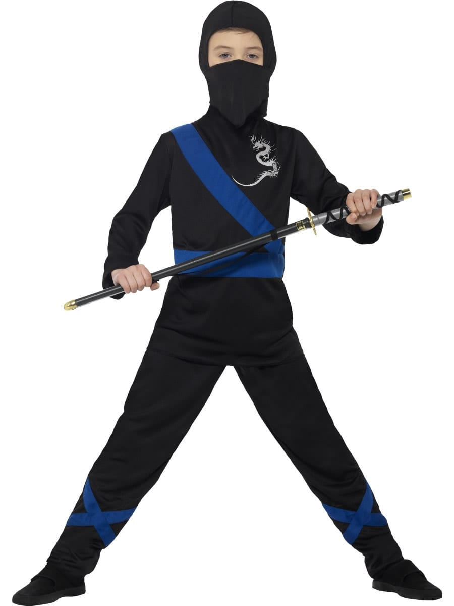 Ninja Assassin Black/Blue Children's Fancy Dress Costume
