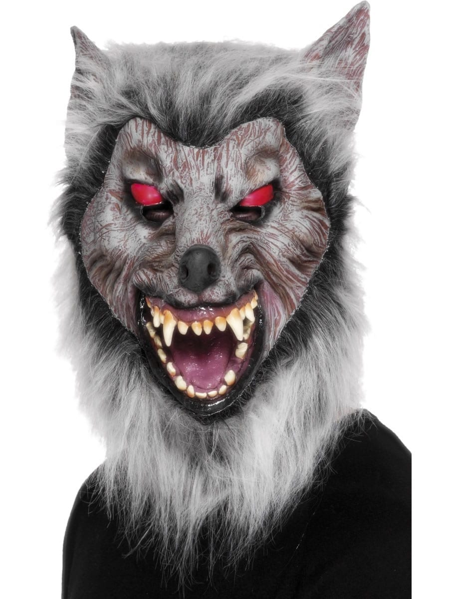 Wolf Prowler Mask Rubber Mask With Hair.
