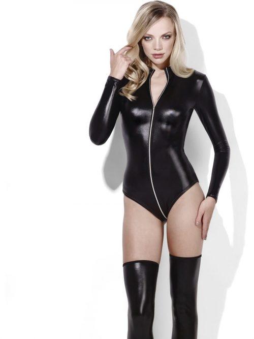 Fever Lingerie Miss Whiplash Bodysuit Ladies Fancy Dress Costume