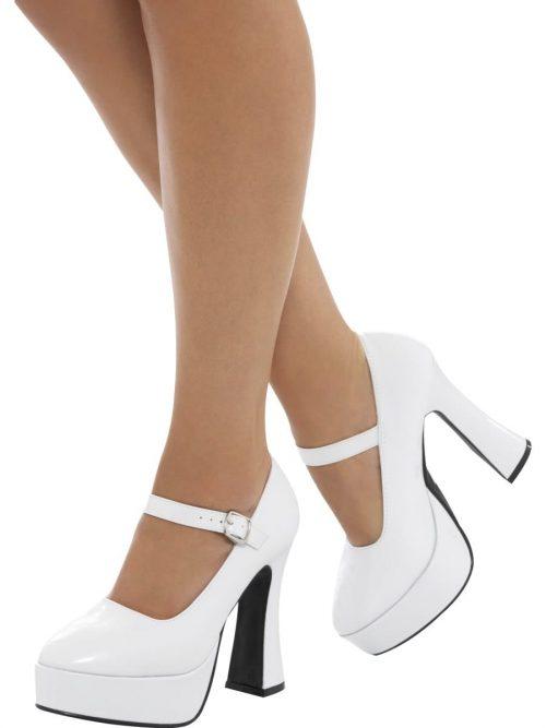 70's Ladies White Platform Shoes