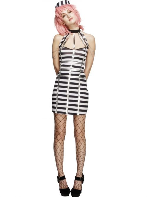 Fever Collection Night Criminal (Convict) Ladies Fancy Dress Costume
