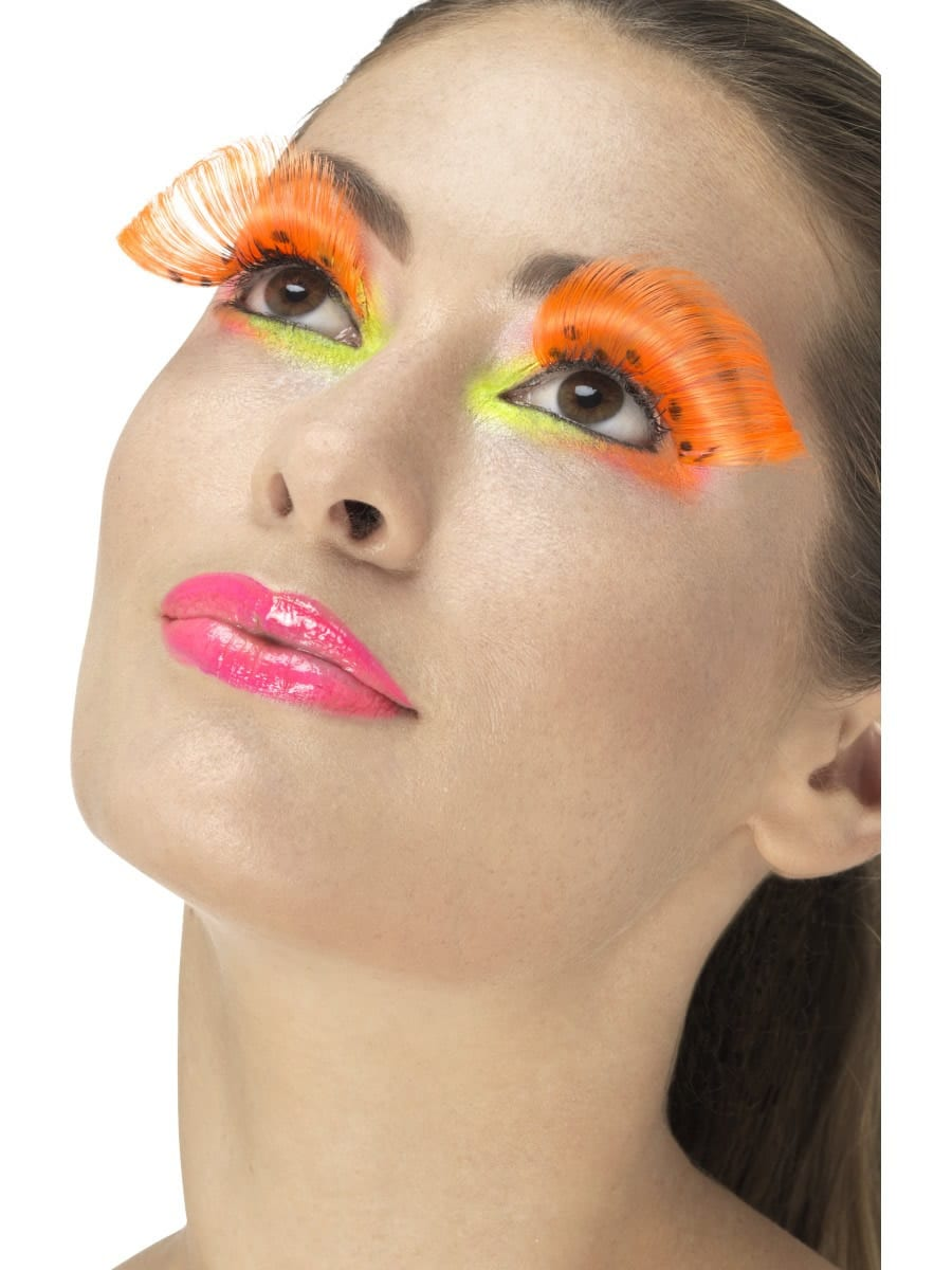 80's Polka Dot Eyelashes, Neon Orange