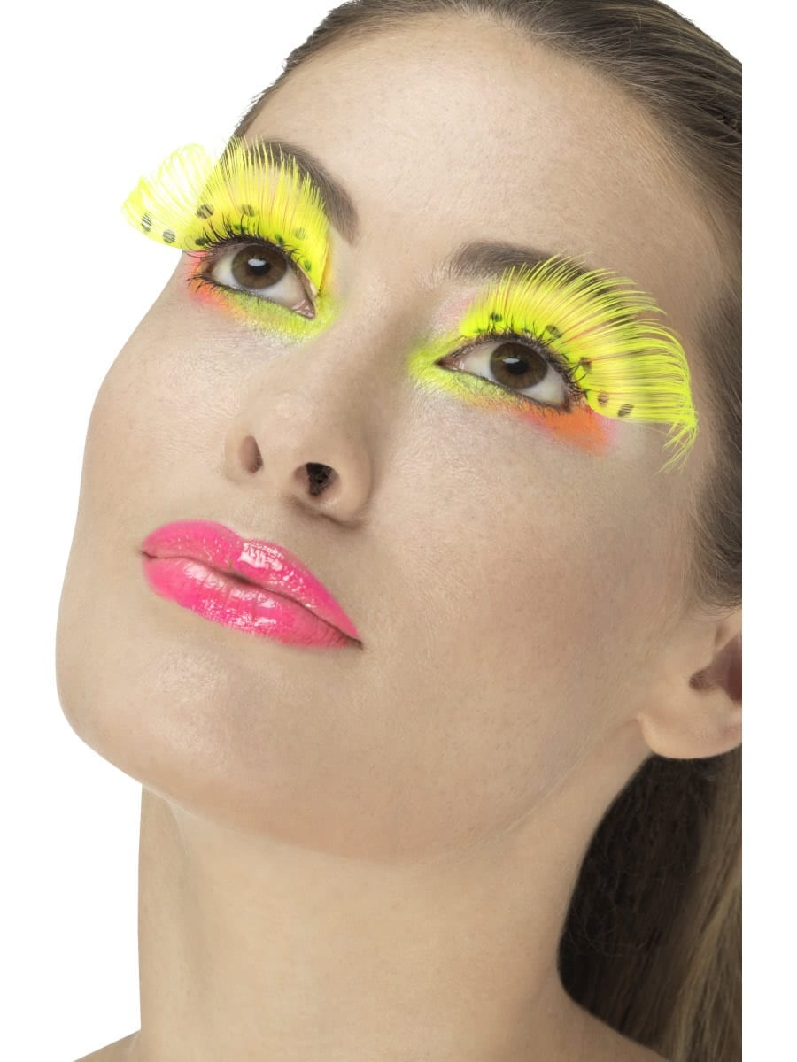 80's Polka Dot Eyelashes, Neon Yellow