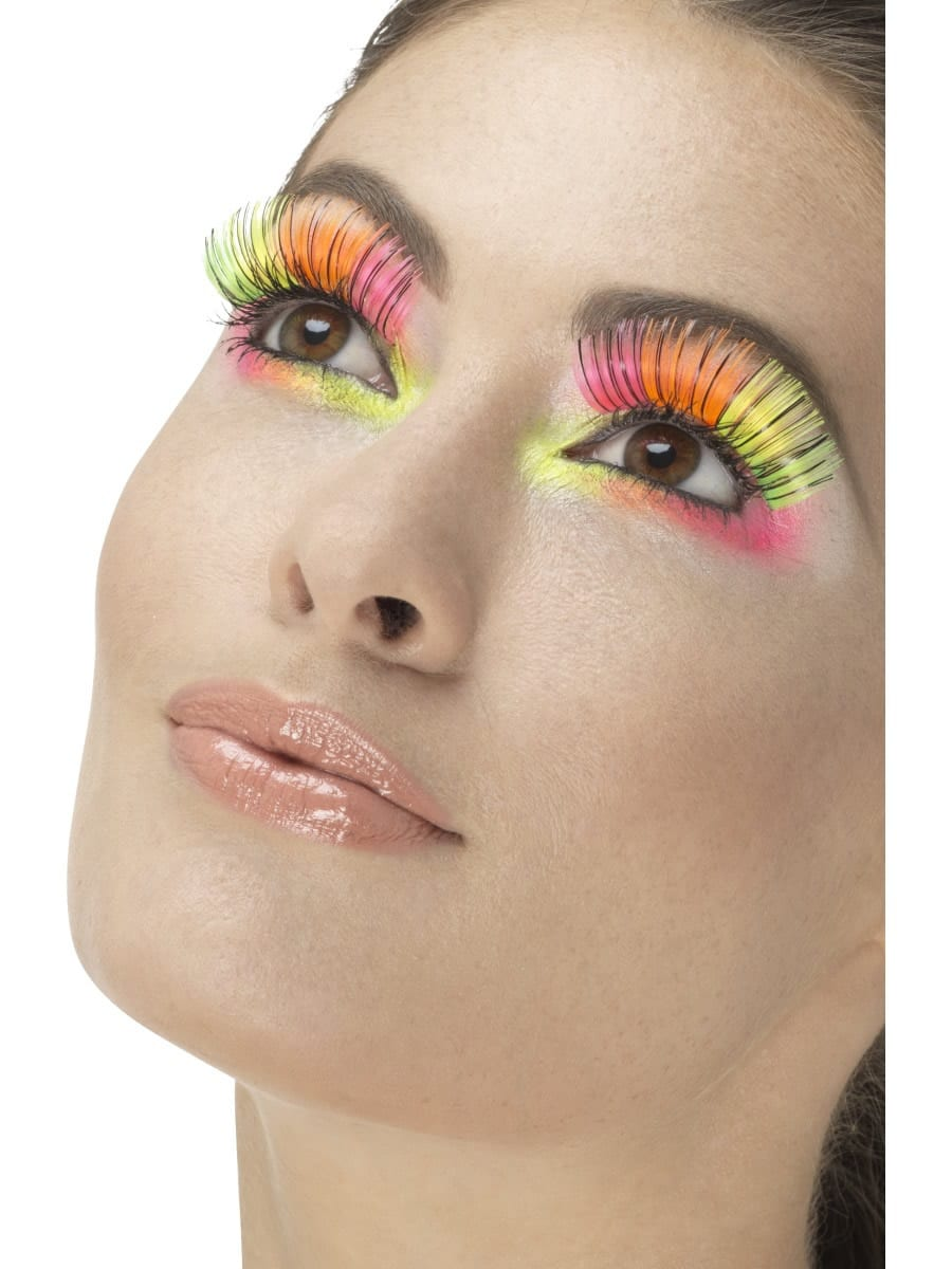 80's Party Eyelashes, Neon, Multi-Coloured