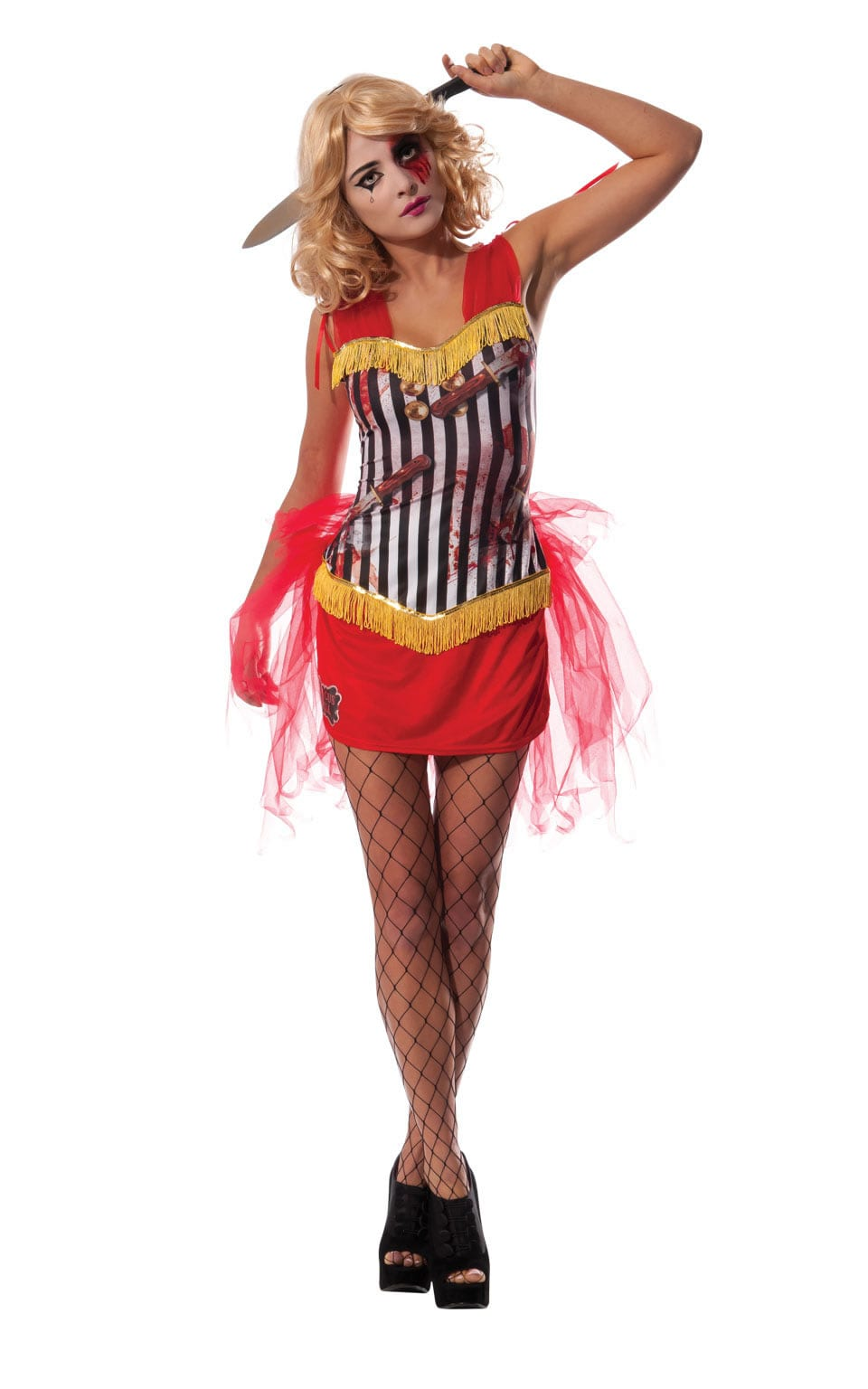 Circus Hell Knife Throwers Assistant Ladies Halloween Fancy Dress Costume