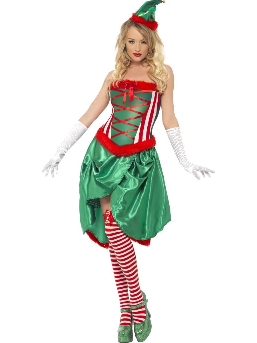 Fever Elf Burlesque Ladies Christmas Fancy Dress Costume