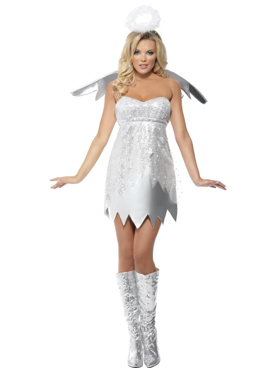 Fever Angel Shimmer Ladies Christmas Fancy Dress Costume