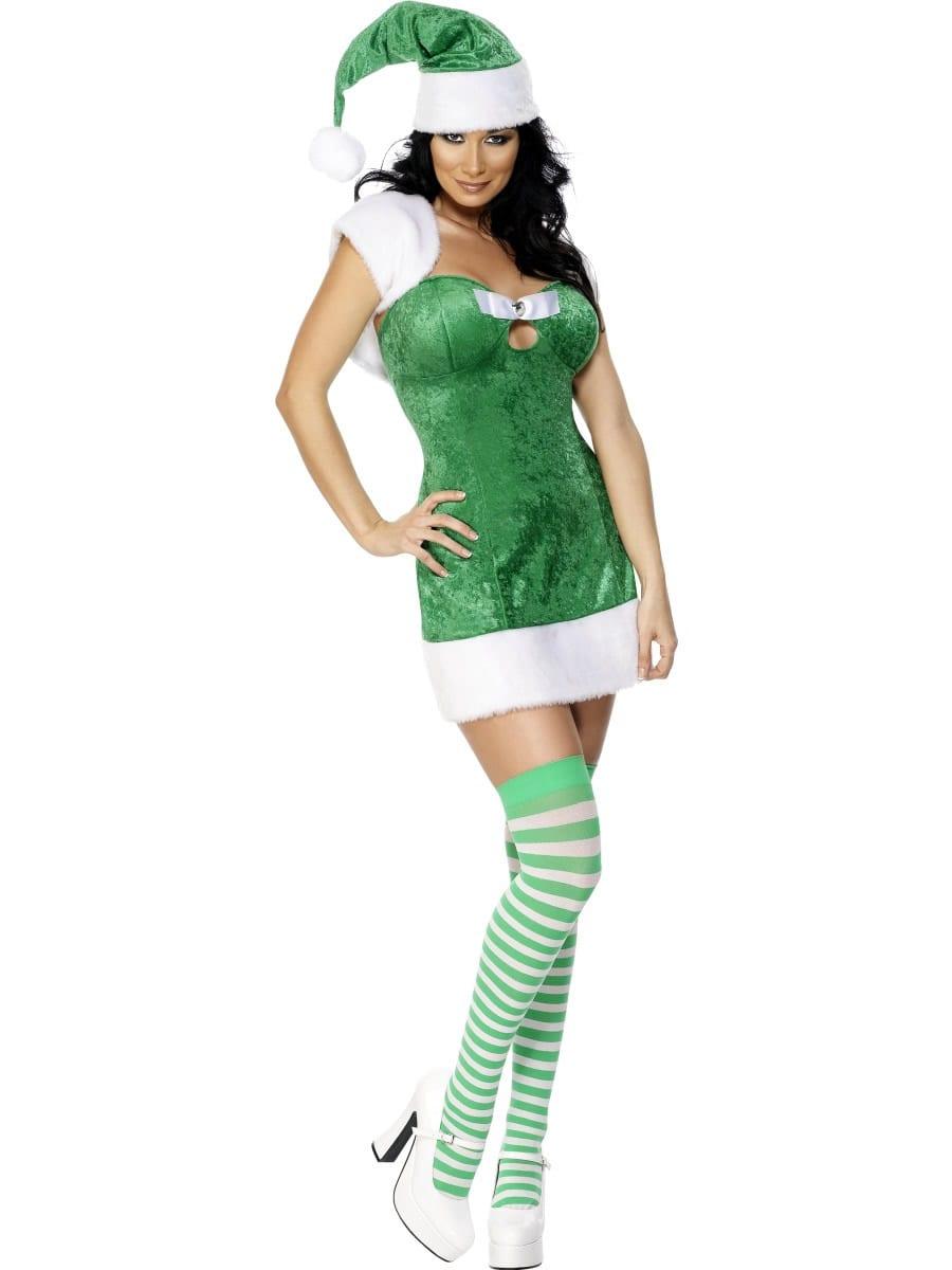 Fever Green Xmas Present Ladies Christmas Fancy Dress Costume