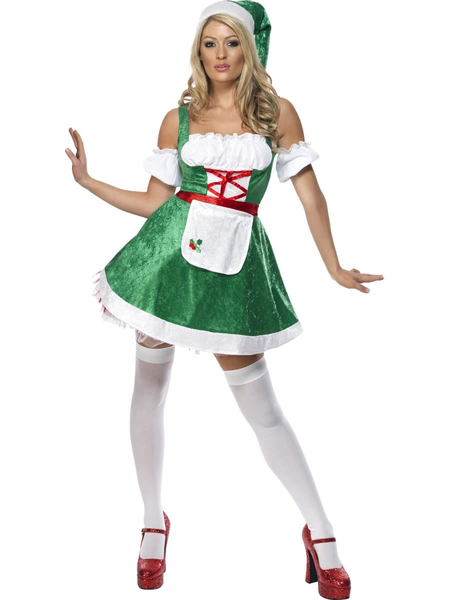 Fever Christmas Maid Green Ladies Christmas Fancy Dress Costume