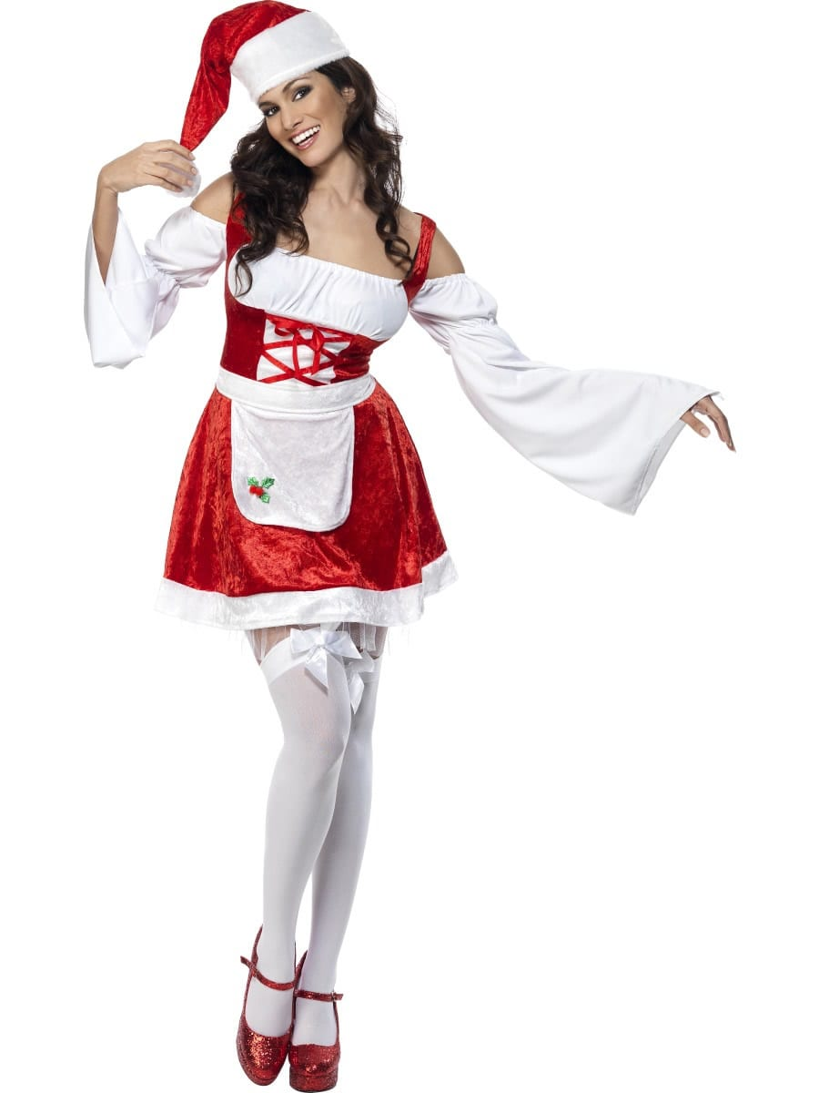 Fever Christmas Maid Red Ladies Christmas Fancy Dress Costume
