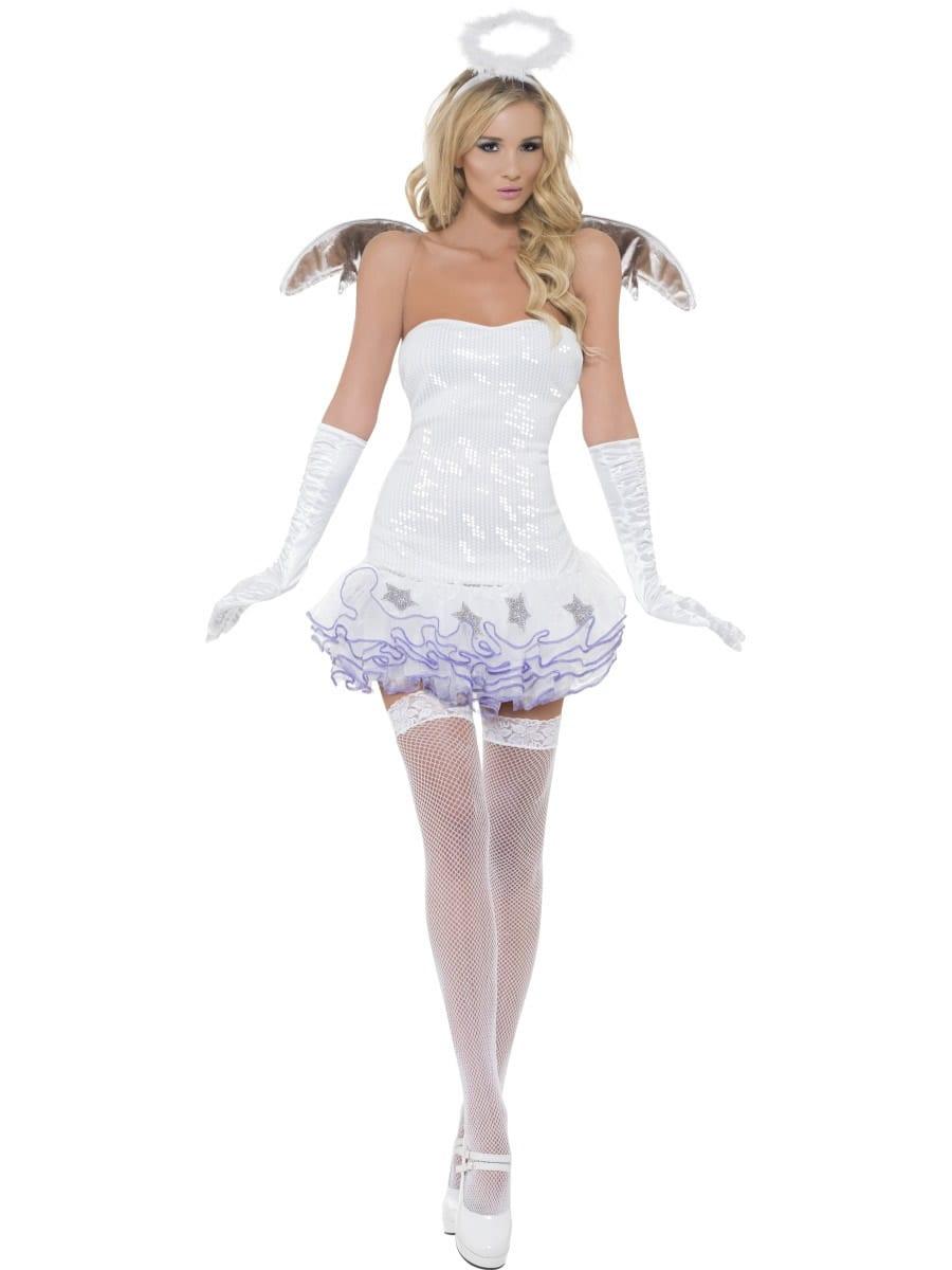 Fever Angel Sequin Ladies Christmas Fancy Dress Costume