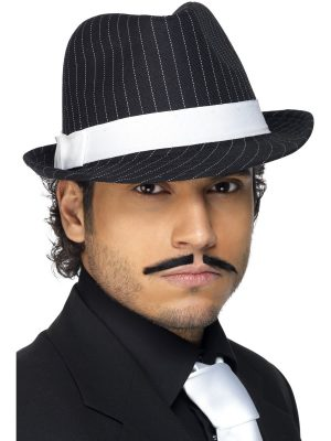 Deluxe Black Trilby Hat with White Pinstripe and White Band
