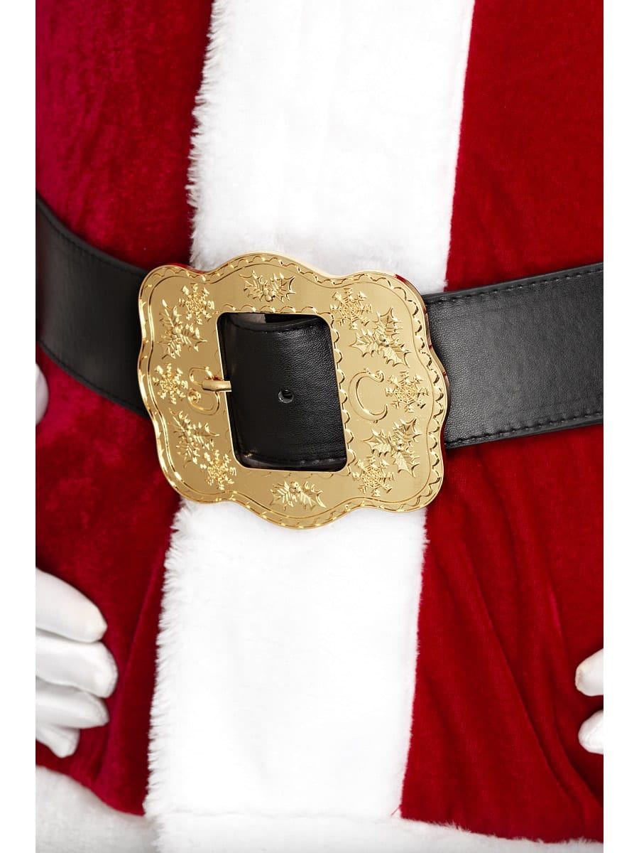 Deluxe Santa Belt, Black, with Ornate Buckle
