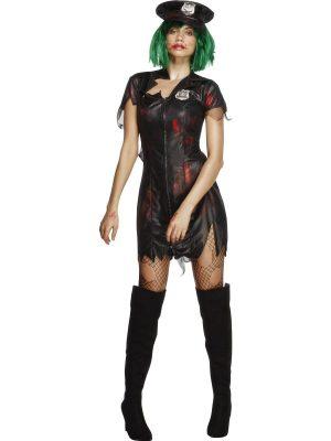 Fever Zombie Cop Halloween Ladies Fancy Dress Costume