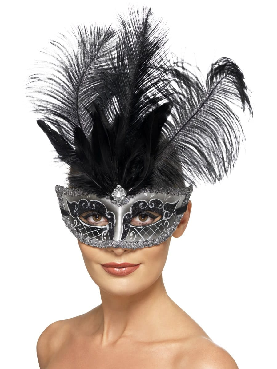 Venetian Colombina Grey/Black Eyemask