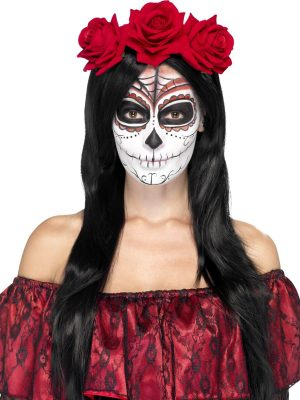 Day of the Dead Headband, with Red Roses