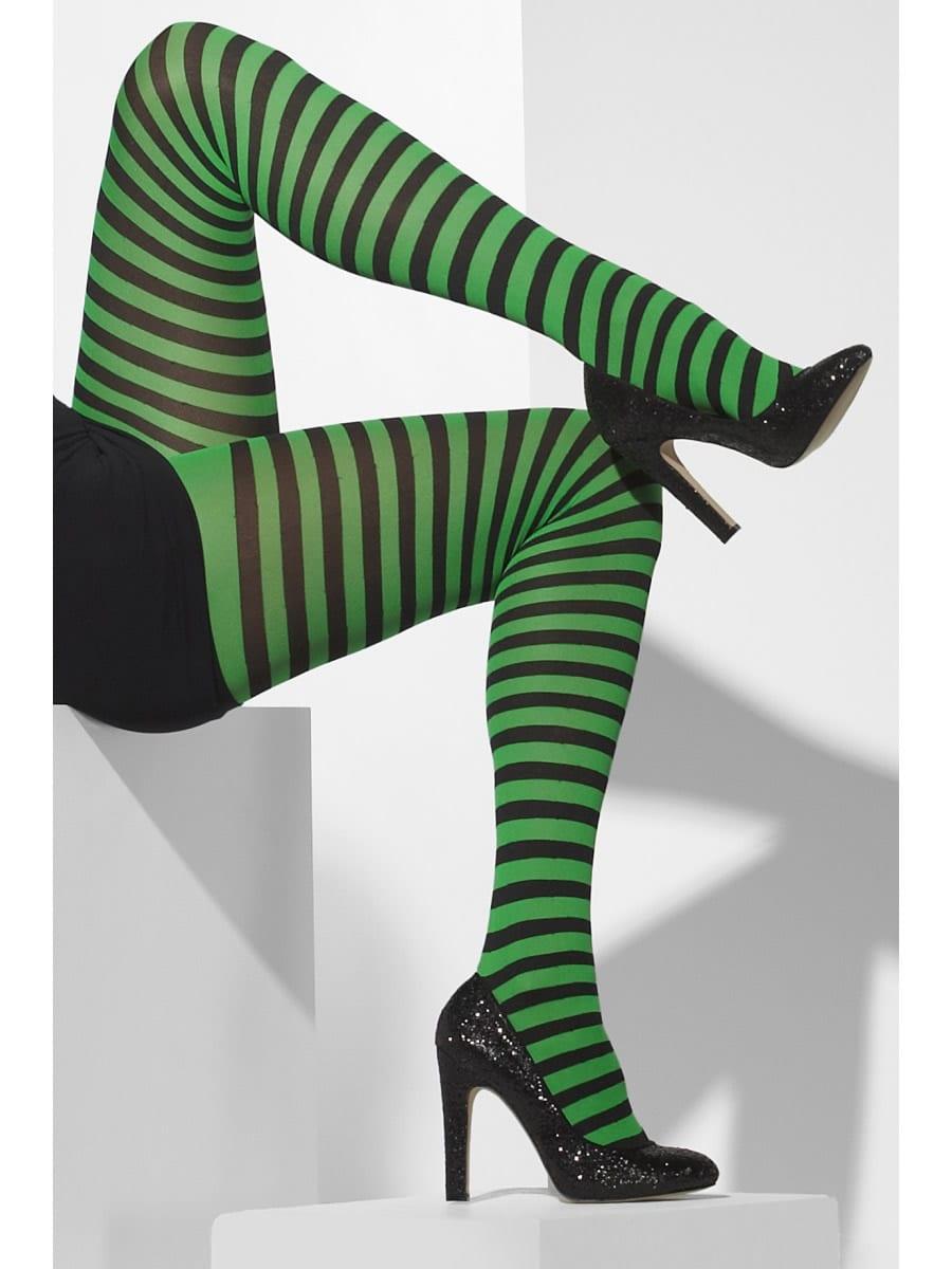 Black/Green Striped Tights