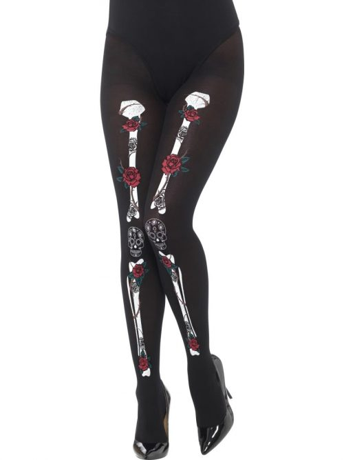 Day of the Dead Black Printed Opaque Tights