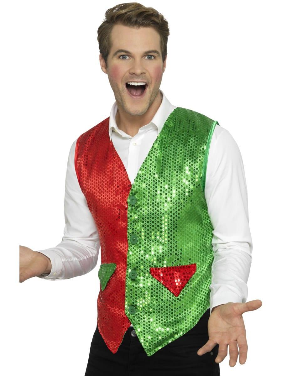 Sequin Elf Waistcoat Men's Christmas Fancy Dress Costume