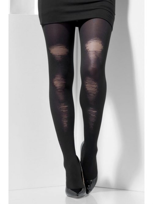 Black Opaque Tights with Distressed Detail