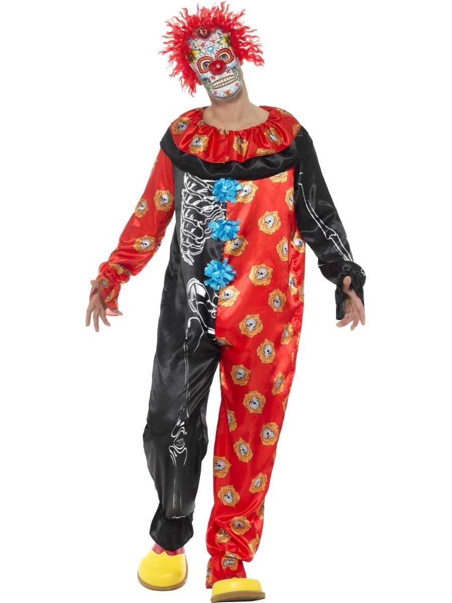 Day of the Dead Deluxe Clown Men's Halloween Fancy Dress Costume