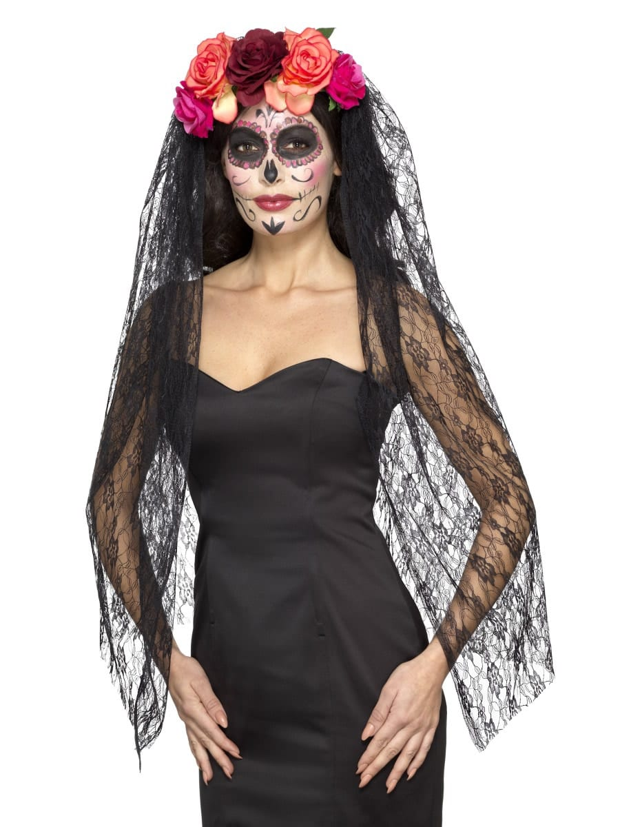 Day of the Dead Deluxe Headband with Veil