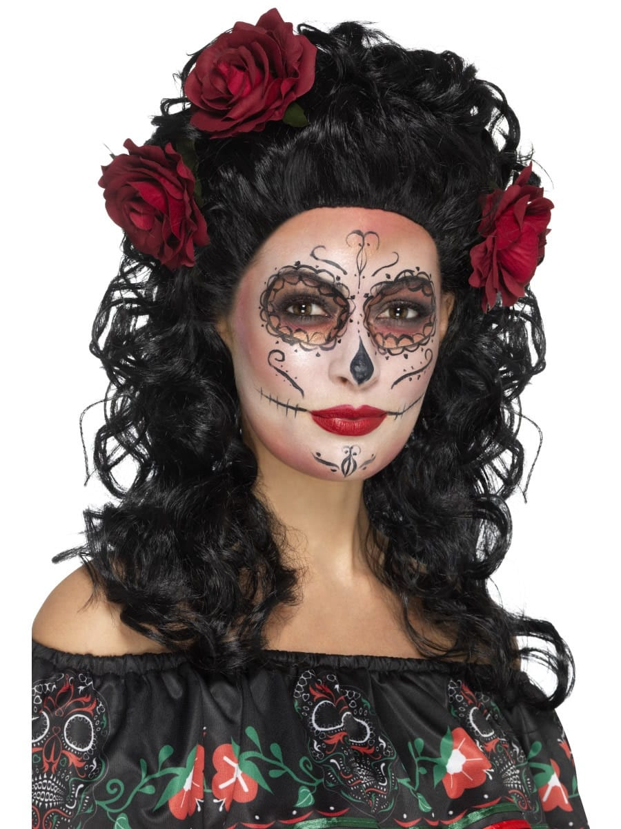 Day of the Dead Deluxe Wig, Black, with Roses