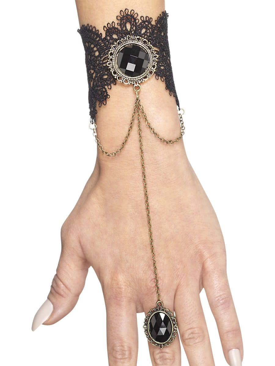 Gothic Bracelet Black/Gold with Attached Ring