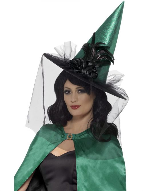 Deluxe Witches Hat Teal with Net & Feathers