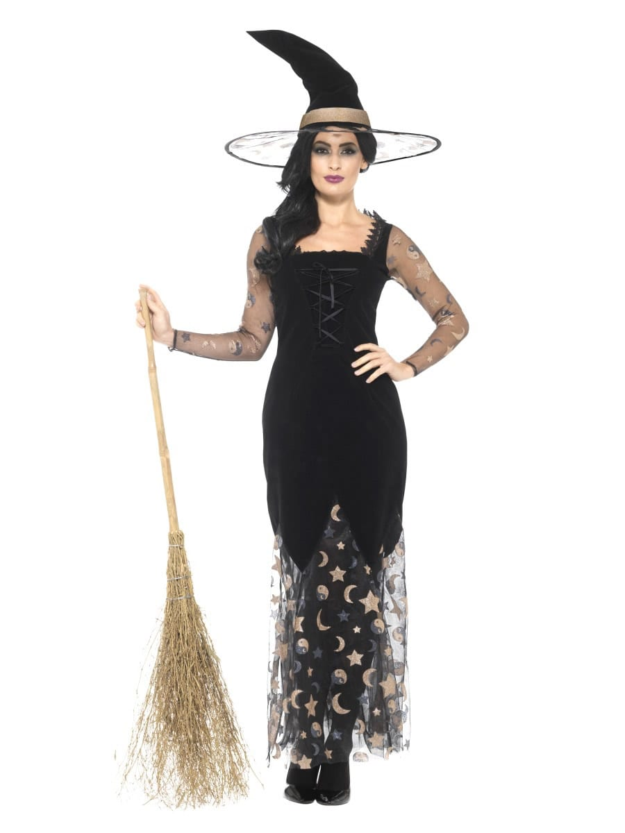 Deluxe Moon & Stars Witch Ladies Halloween Fancy Dress Costume