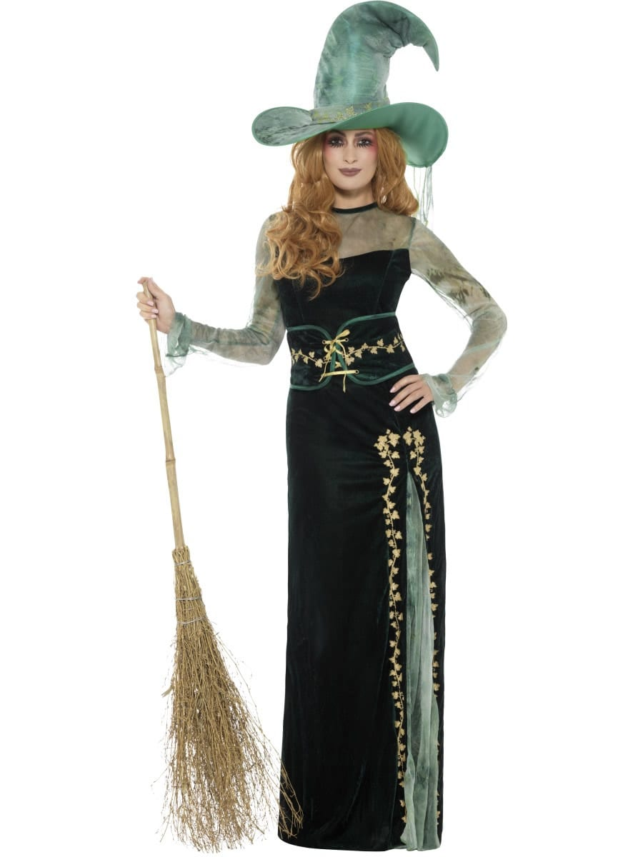 Deluxe Emerald Witch Ladies Halloween Fancy Dress Costume
