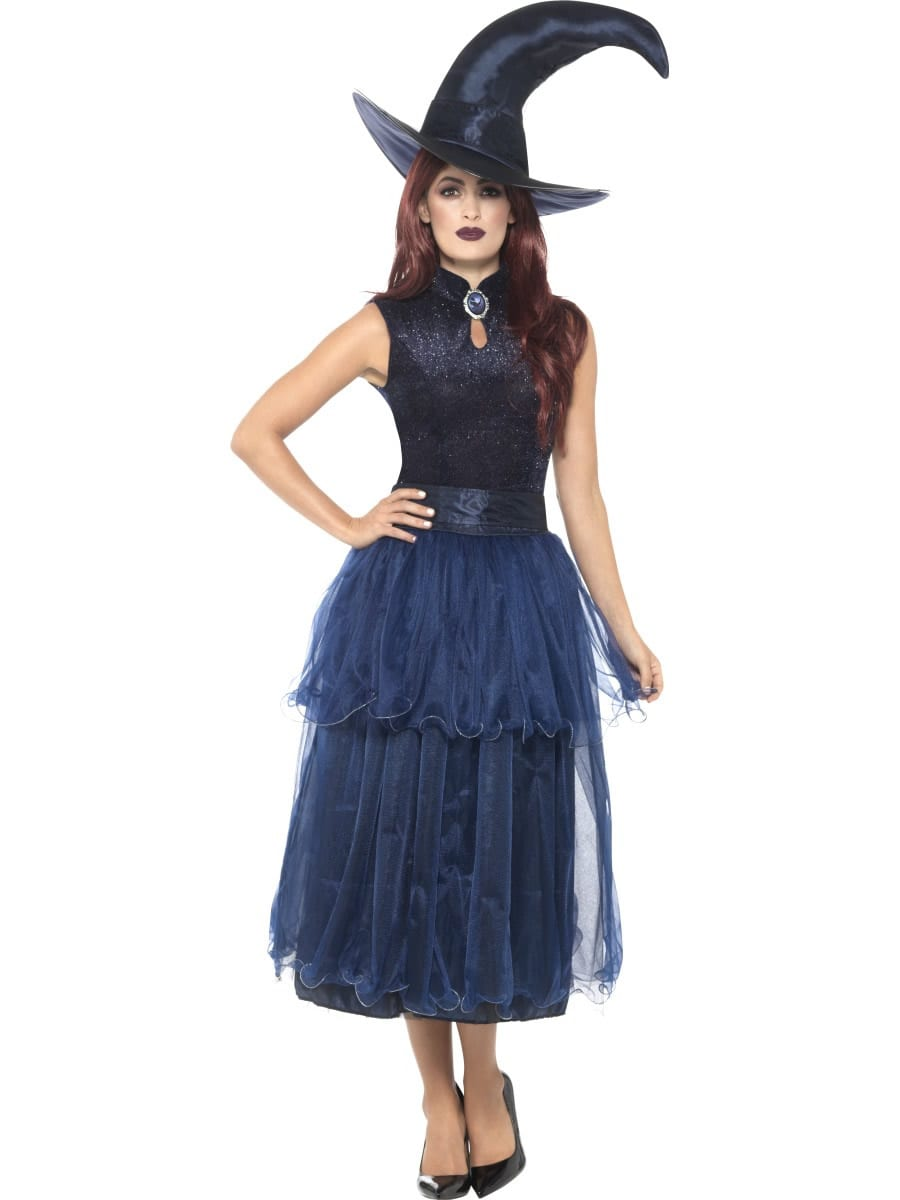 Deluxe Midnight Witch Ladies Halloween Fancy Dress Costume