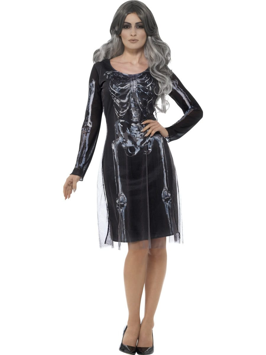Lady Skeleton Ladies Halloween Fancy Dress Costume