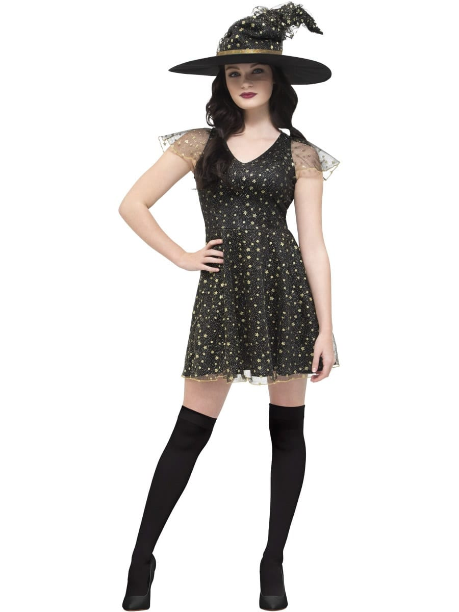 Fever Moon & Stars Witch Costume Ladies Halloween Fancy Dress Costume