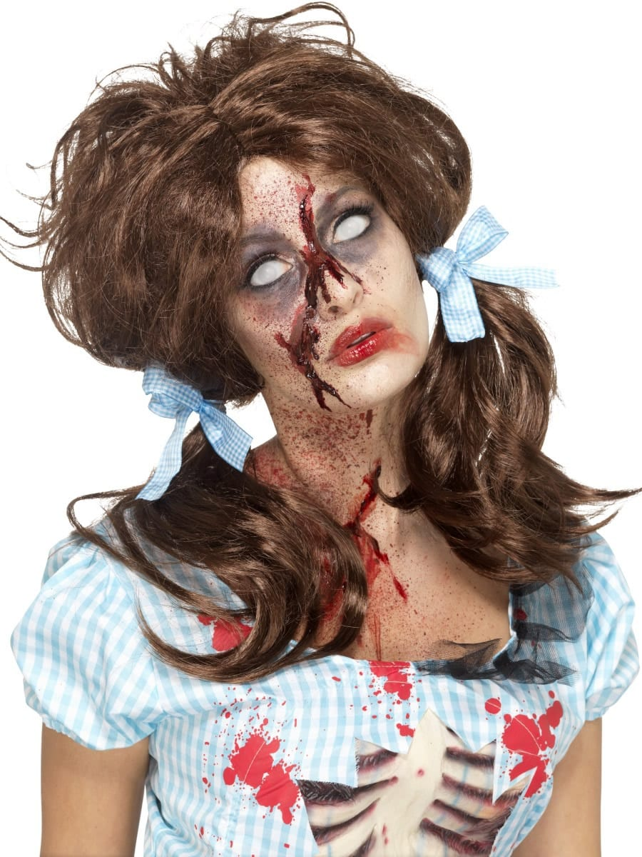 Zombie Bloody Country Girl Wig, Brown