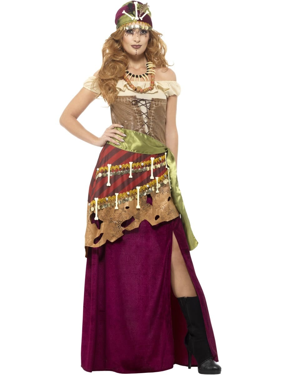 Deluxe Voodoo Priestess Ladies Halloween Fancy Dress Costume