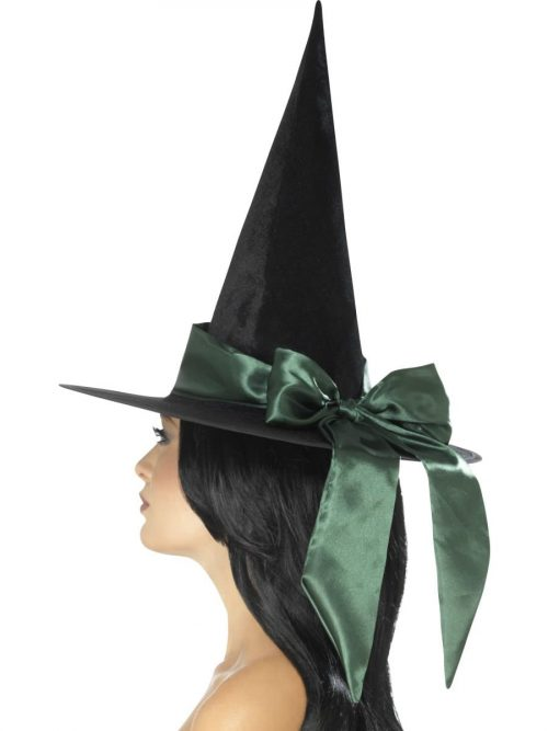 Deluxe Witch Hat, Black, with Green Bow