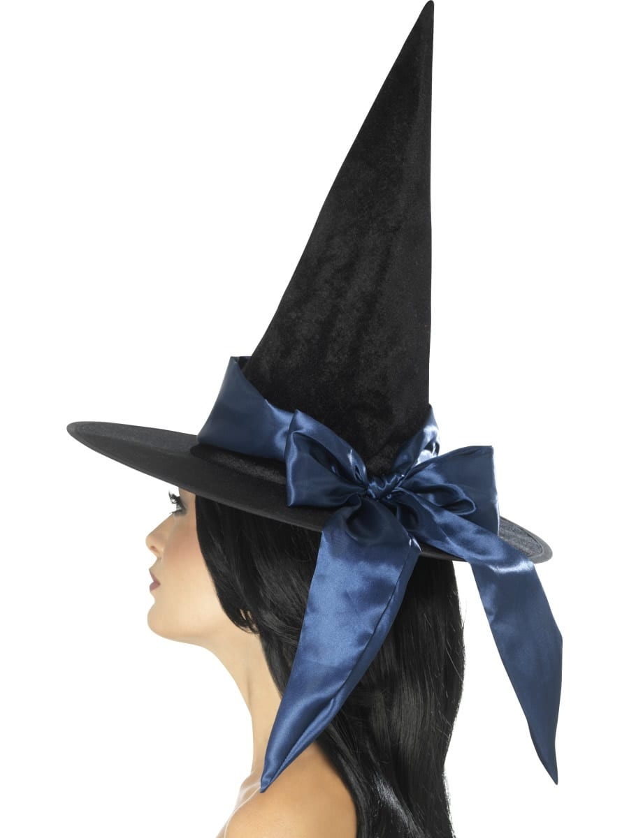 Deluxe Witch Hat, Black, with Blue Bow