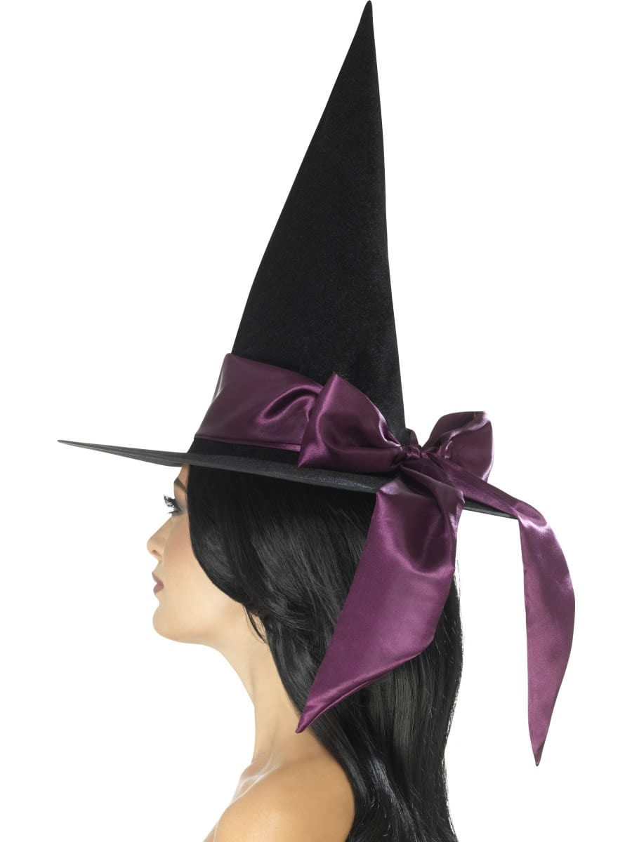 Deluxe Witch Hat, Black, with Purple Bow