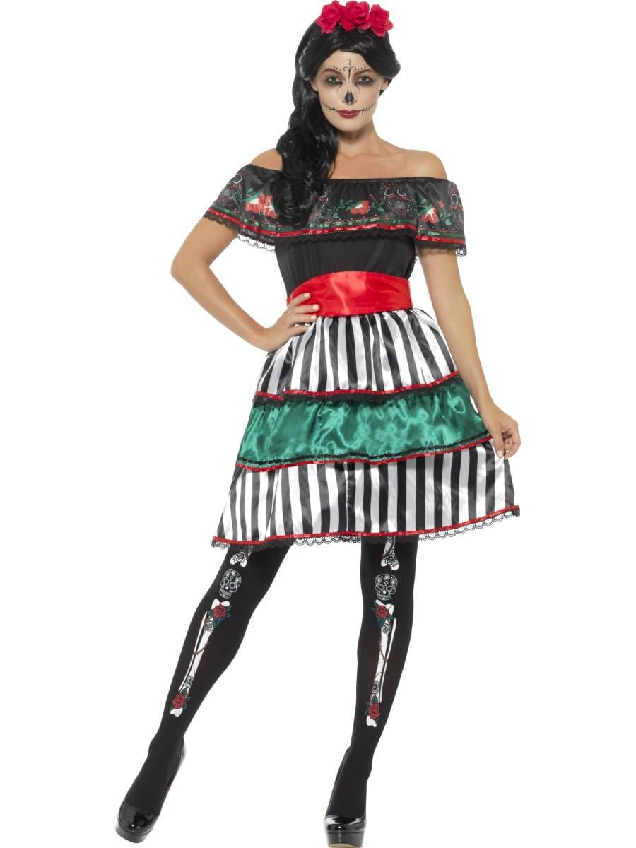 Day of the Dead Senorita Doll Ladies Halloween Fancy Dress Costume