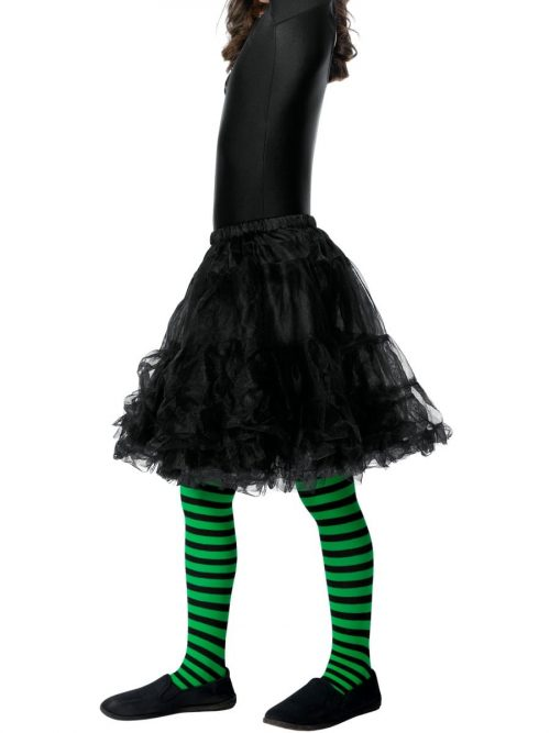 Green/Black Striped Tights AGE 8-12 Years