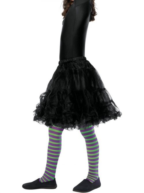 Purple/Green Striped Tights AGE 8-12 Years