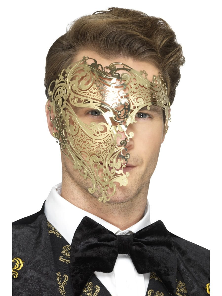 Deluxe Metal Filigree Phantom Mask, Gold