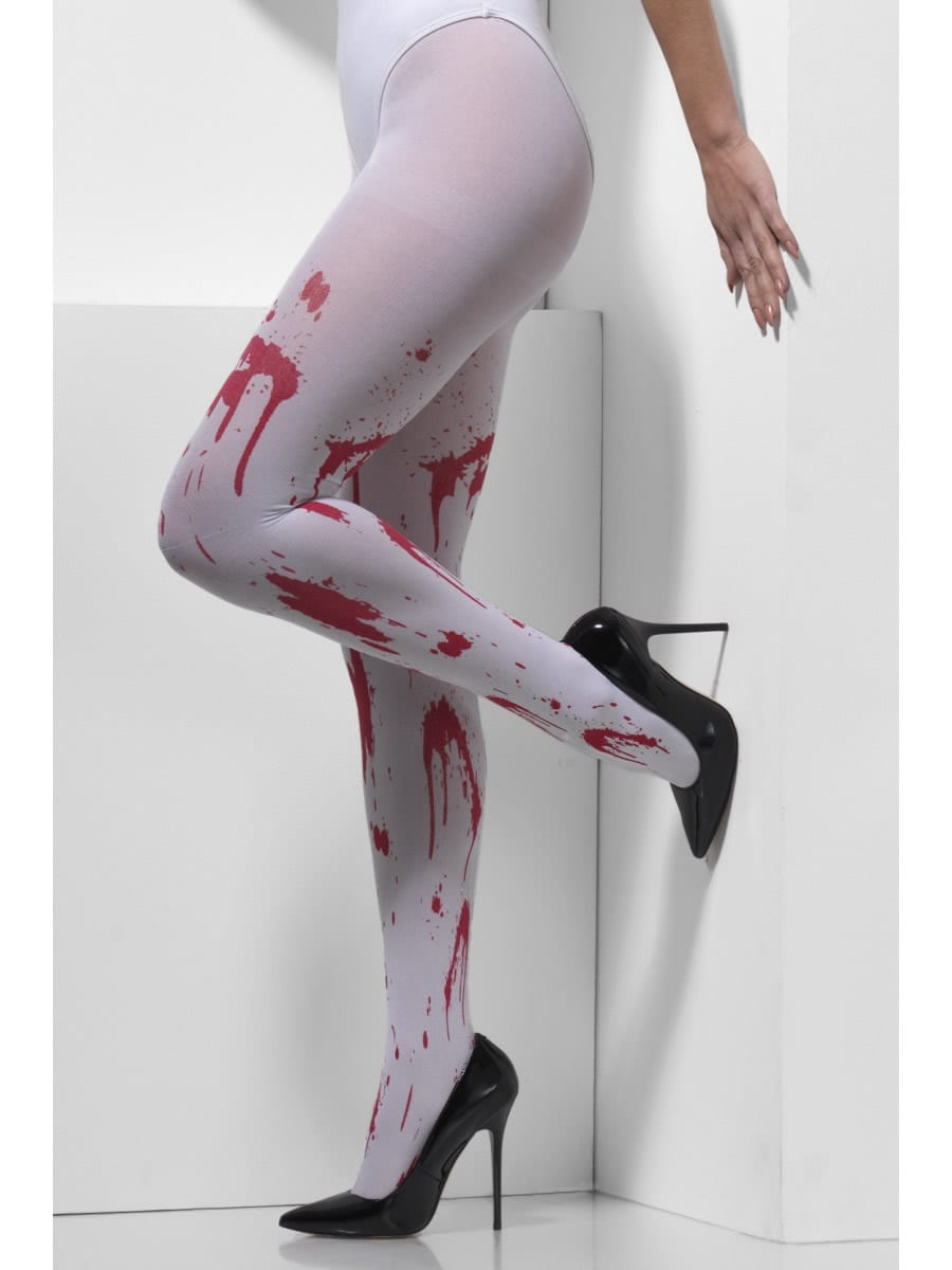 White Opaque Tights with Blood Splatter