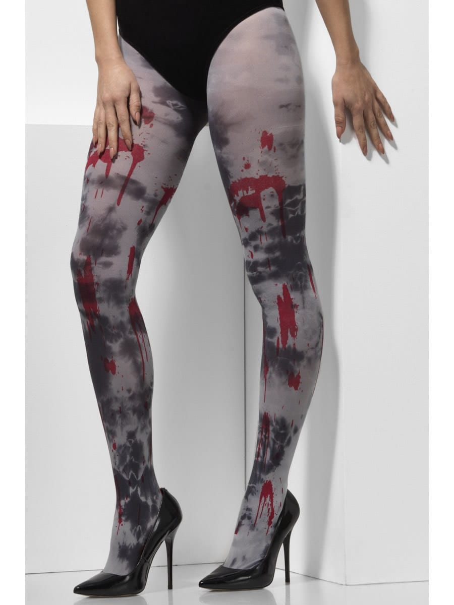 White Opaque Tights with Blood Splatter & Zombie Dirt