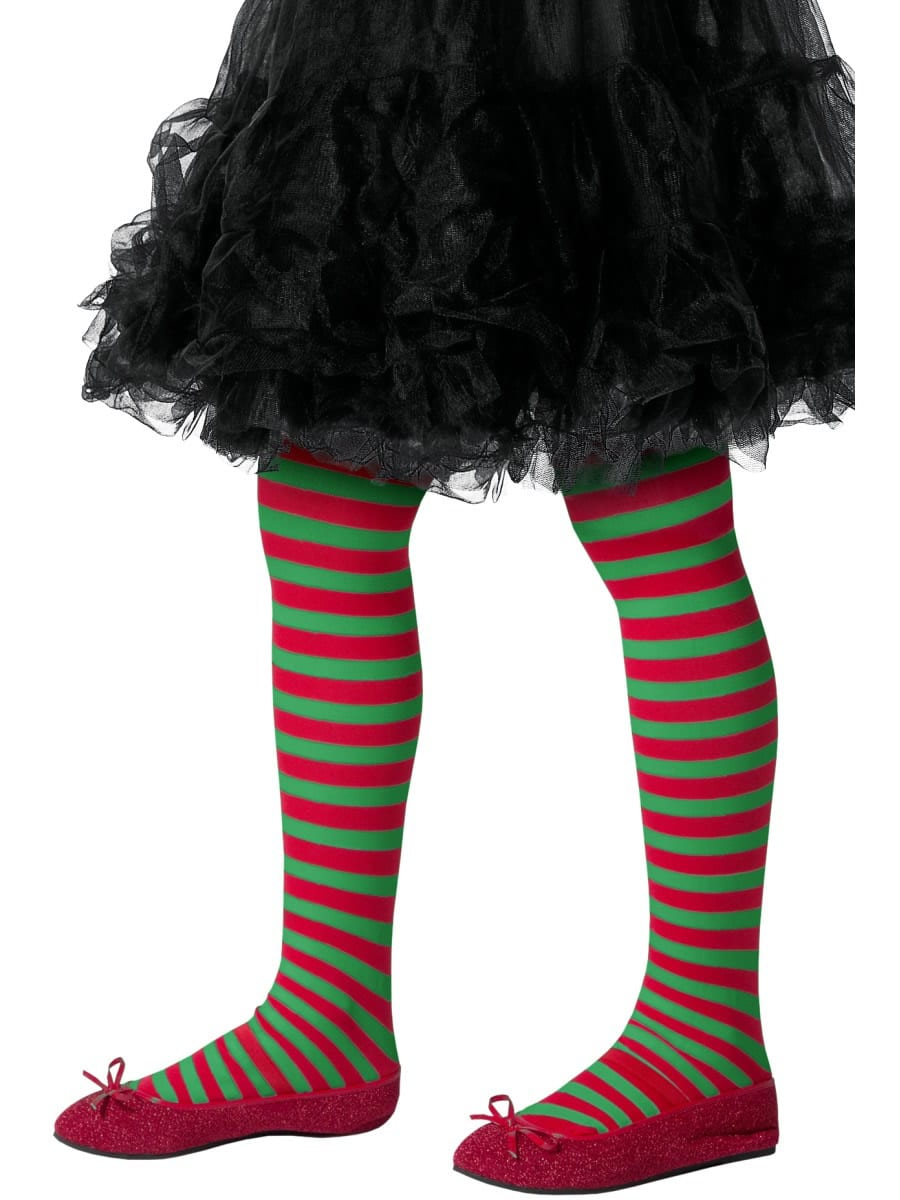 Red/Green Stripe Tights AGE 8-12 YEARS