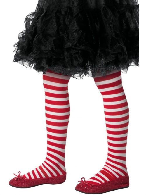 Red/White Stripe Tights AGE 8-12 YEARS