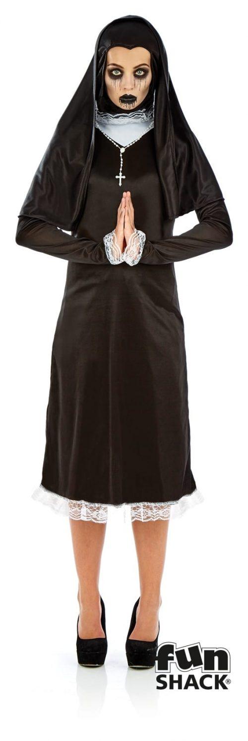 Gothic Nun Ladies Halloween Fancy Dress Costume