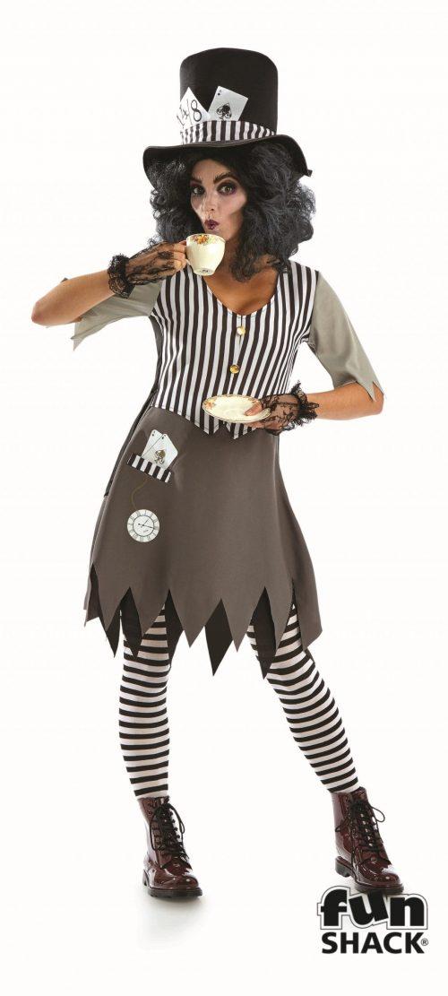 Hallowed Hatter Lady Ladies Halloween Fancy Dress Costume